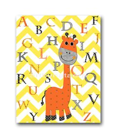 Kids wall art Giraffe Nursery Alphabet Baby by artbynataera, $14.00