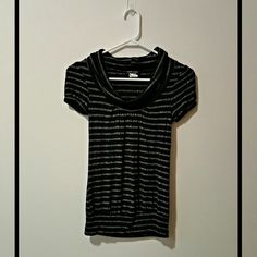 Wet Seal Black and Silver Striped Top Perfect condition. The fabric is a stretchy soft material Wet Seal Tops Blouses