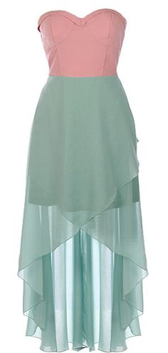 Spring Fling Dress: Features an amazing sweetheart neckline, sexy rear cutouts and edgy exposed zipper, beautiful crossover mint-toned chiffon skirt, and a flattering high-low hem to finish.
