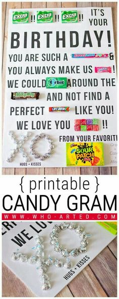 The BEST candy gram ideas ever! Notes written with candy. candy cards with coffee Bff Birthday, Birthday Gifts For Best Friend, Birthday Crafts, Boyfriend Birthday, Candy Birthday Cards, Birthday Quotes, Teacher Birthday Gifts, Birthday Ideas For Dad, Birthday Candy Posters