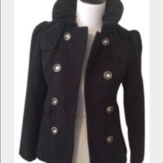Black pea coat in excellent condition. In excellent condition. Only wore a few times. Can fit a large. Hydraulic Jackets & Coats Pea Coats