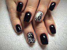 Beautiful nails 2016, Black and white nails ideas, Elegant nails, Light nails, Nails with flowers pattern, Ordinary nails, Original nails, Patterns on nails