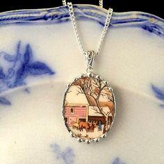 Broken china jewelry  snowy red barn farm by dishfunctionldesigns