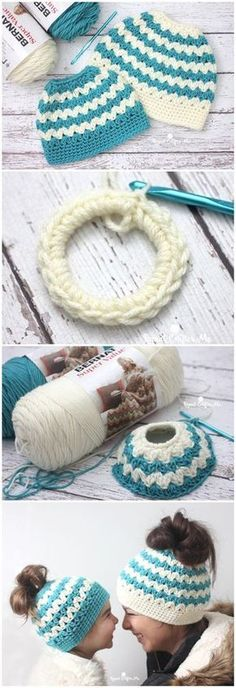 Crochet Beanie Ideas Crochet Mommy And Me Messy Bun Hats Poney Crochet, Crochet Pony, Crochet Cap, Crochet Beanie, Crochet Gifts, Crochet Stitches, Knitted Hats, Crochet Bun Hats, Crotchet