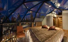 Levin Iglut, Finnish Lapland Accommodation includes glass igloos and a subterranean northern lights house, complete with large windows from which to survey the skies. There's also a communal teepee with a fire.