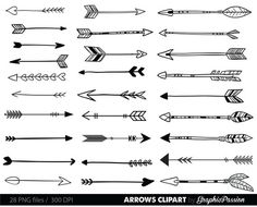 arrow tribal drawing clip arrows drawn hand doodle digital clipart visit archery simple drawings easy doodles