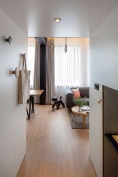 ロフトベッドルーム付きのゆったりとしたワンルームの入り口から室内