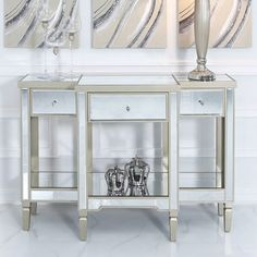 Mirrored bedroom furniture Georgia Champagne Luxe Mirrored 3 Drawer Console Table Dressing Table How Mirrored Console Table, Drawers, Wooden Trim, Mirrored Bedroom Furniture, Contemporary Furniture, Contemporary House, Console Table, Bedroom Chest Of Drawers, Mirror