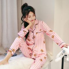 Cotton Pajama Sets Women Sweet Girl Lounge Cute Sleepwear Long Sleeve Casual Nightwear Big Yards M-XXL Female Pijamas Cotton Pyjamas, Satin Pajamas, Cute Sleepwear, Cute Pjs, Pajama Set, Pajama Party, Girls Pajamas, Ulzzang Girl, Sweet Girls