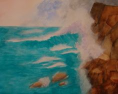 Breaking Wave Costa Rica  watercolour painting by Sharon Amer