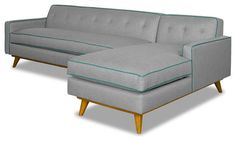 Clinton 2 Piece Sectional, Mountain Gray With Ocean Blue Piping contemporary-sectional-sofas