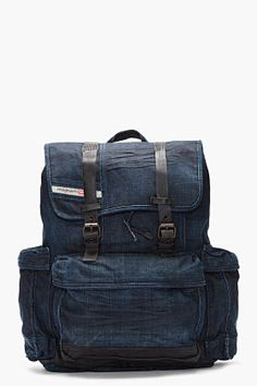 Diesel Indigo Denim Backpack.