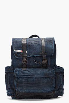 Diesel Indigo Denim Backpack.