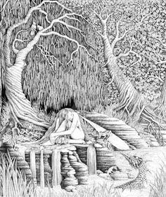 The river of dreams.....while she dreams the river flows. The daamok watches over her like she does her own offspring. The trees and tree creatures protect her earthly body while she sleeps.For tho...