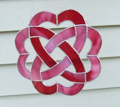 Stained Glass Celtic Heart Knot with Gold-Pink Cranberry + White Glass