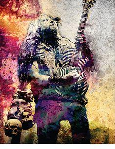 Zakk Wylde - Ozzy Osbourne art print by RockChromatic. Hard Rock, Black Label Society, Zakk Wylde, Native American Pictures, Heavy Metal Bands, Ozzy Osbourne, Thrash Metal, Rock Legends, Rock Art