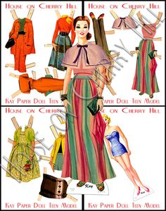 Printable Paper Doll digital Mad Men wiggle by HouseonCherryHill, $6.00