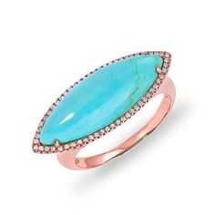 14KT Rose Gold Diamond Turquoise Marquis Ring