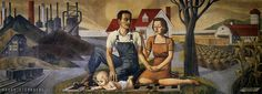 The Family, Industry and Agriculture, WPA mural by Harry Sternberg, in the old Ambler, Pennsylvania post office Graven Images, Birds And The Bees, Mural Painting, Agriculture, The Dreamers, Fun Facts, Modern Art, Old Things, War