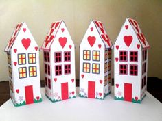 Heart houses for Valentine's Day - free printable for kid's crafts projects