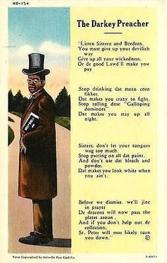 "The Darkey Preacher 1930s Black Preacher Sermon Antique Vintage Linen Postcard Black History Circa 1930s ""Darkey Preacher"" and a short sermon from him. Unused Curteich collectible antique vintage line"