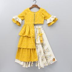 Pre Order: Mustard Yellow Frilled Top With Ikkat Palazzo - donnamorton. - - Pre Order: Mustard Yellow Frilled Top With Ikkat Palazzo – donnamorton. Girls Frock Design, Kids Frocks Design, Baby Frocks Designs, Baby Dress Design, Frocks For Girls, Dresses Kids Girl, Kids Outfits, Kids Dress Wear, Kids Gown
