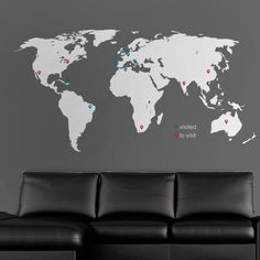 Wall Stickers World Map, World Map Decal, World Map Wall Art, Vinyl Wall Stickers, Wall Decals, World Map With Pins, 3d Tiles, New Wall, Beautiful Wall