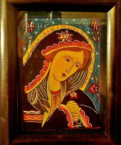 Icoana pe sticla  -  Maica Domnului Indurerata  - autor: Florian Colea _ Targoviste, Romania Biblical Art, Orthodox Icons, Madonna, Catholic, Folk, Christian, Glass, Crafts, Painting