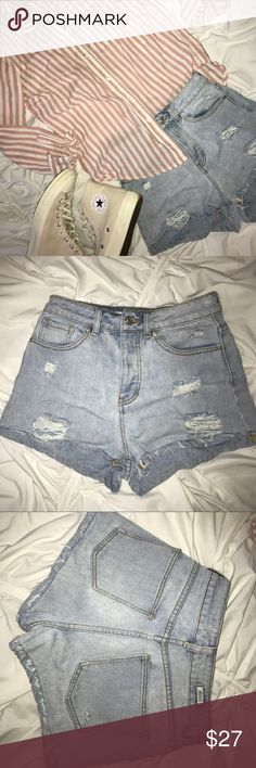 High Waisted Brandy Shorts Adorable light wash distressed high waisted brandy shorts! Adorable with any top for a perfect summer outfit! Brandy Melville Shorts Jean Shorts