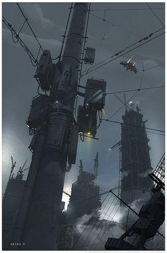 Fragments of a Hologram Dystopia Cyberpunk City, Arte Cyberpunk, Futuristic City, Futuristic Design, Sci Fi Environment, Environment Design, Fantasy World, Fantasy Art, World Of Tomorrow