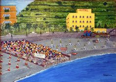 title: .. public strand in Italy..  Acrylic on plywood (60 x 40 cm)