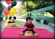 Cake Smash Fail 1st Birthday Mickey Mouse Photo shoot