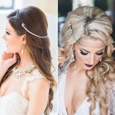 One piece, two looks! We recommend bringing your hair accessory to the hair trial so you can try the piece a few different ways with your stylist! Especially handy when you plan on doing a 'hair change' 💆 Both of these styles were created by @hairbybrands using our jewelry and makeup by @jasminehoffman ✨ Tap for photographer credits  via ✨ @padgram ✨(http://dl.padgram.com)