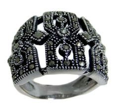 Stainless Steel Marcasite Ring
