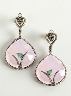 pink glass and emerald drop earrings