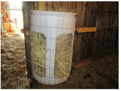 Creative hay feeder!  Old plastic barrel cut out.  Square fencing to keep it in and off the floor.