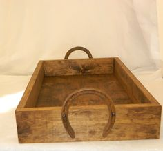 SALERustic Wood Wedding Box/Tray with Horse Shoe by Gallery360, $39.99