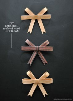 DIY Faux Bois + Real Wood Gift Bows - Good for all year round. Creative Gift Wrapping, Creative Gifts, Wood Gifts, Diy Gifts, Handmade Christmas Decorations, Christmas Crafts, Wooden Diy, Diy Wood, Christmas Wrapping