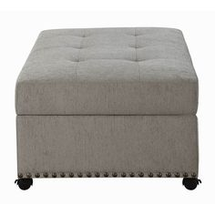 Sleeper Ottoman with Nailhead Trim Dove Grey - Walmart.com - Walmart.com Sleeper Ottoman, Grey Ottoman, Stay Overnight, Wood Beds, Dove Grey, Murphy Bed, Polyurethane Foam, Extra Seating, Nailhead Trim