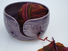 Pottery Yarn Bowl with hand carved design, Purple, Grape color, Knitting bowl, Crochet bowl. $35.00, via Etsy.
