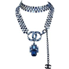 NECKLACE CHANEL ($1,600) found on Polyvore featuring women's fashion, jewelry, necklaces, chanel, chokers, steel choker, blue necklace, choker necklace, blue jewelry and blue steel jewelry