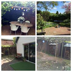 Onze tuin vanuit diverse hoeken gefotografeerd, vanaf ons heerlijk met druivenranken overgroeide terras tot aan de houthokken die wel wat tlc kunnen gebruiken!