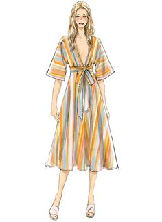 Vogue Patterns Sewing Pattern Misses' Deep-V Kimono-Style Dresses with Self-Tie Kimono Style Dress, Kimono Fashion, Fashion Dresses, Fashion Fashion, Dress Design Sketches, Fashion Design Sketches, Dress Designs, Mode Kimono, Vogue Sewing Patterns