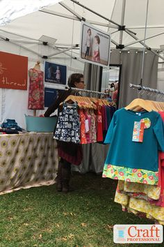 vendor booth hanging clothes from tent Diy Clothes Rack, Hanging Clothes, Craft Show Displays, Photo Displays, Display Ideas, Display Photos, Booth Ideas, Tenda Gazebo, Resale Clothing