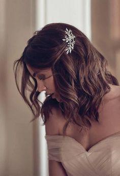 DREAMER crystal floral hair piece for Art Deco wedding in Elegant Wedding Hair, Wedding Hair Down, Wedding Hair And Makeup, Gown Wedding, Wedding Cakes, Wedding Rings, Bridesmaid Hair Down, Wedding Dresses, Hair Makeup