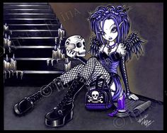 Gothic Fairy Blue Angel Skull GABRIELLA Signed Print Myka Jelina Wall Art