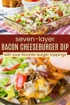 Seven-Layer Bacon Cheeseburger Dip Recipe - Cupcakes & Kale Chips Hot Layered Bacon Cheeseburger Dip - perfect for any party and layered with your favorite burger toppings. Perfect for dipping chips, veggies, toasted hamburger buns, o Easy Appetizer Recipes, Best Appetizers, Dip Recipes, Game Recipes, Beef Recipes, Bacon Cheeseburger Dip, Cheeseburger Tater Tot Casserole, Cheese Burger Soup Recipes, Burger Toppings