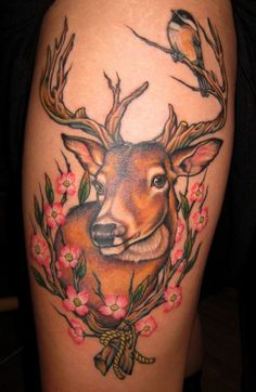 Coloured deer tattoos - 45 Inspiring Deer Tattoo Designs  <3 <3