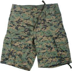 Woodland Digital Camouflage Vintage Military Infantry Utility Shorts | 2610 | $34.49