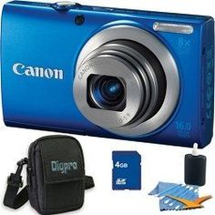 PowerShot A4000 IS 16MP Blue Digital Camera 8x Optical Zoom 3 inch LCD Compact Camera Plus 4 GB Kit. Kit Includes Compact Digital Camera Deluxe Carrying Case, 4GB Secure Digital SD Memory Card, 3pc. Lens Cleaning Kit, and Microfiber Cleaning Cloth. by Canon. $109.00. In a new high for the A-Series, it's equipped with a powerful 8x Optical Zoom to get you close to the action fast, and a 28mm Wide-Angle lens and Optical Image Stabilizer that deliver beautifully clear im...
